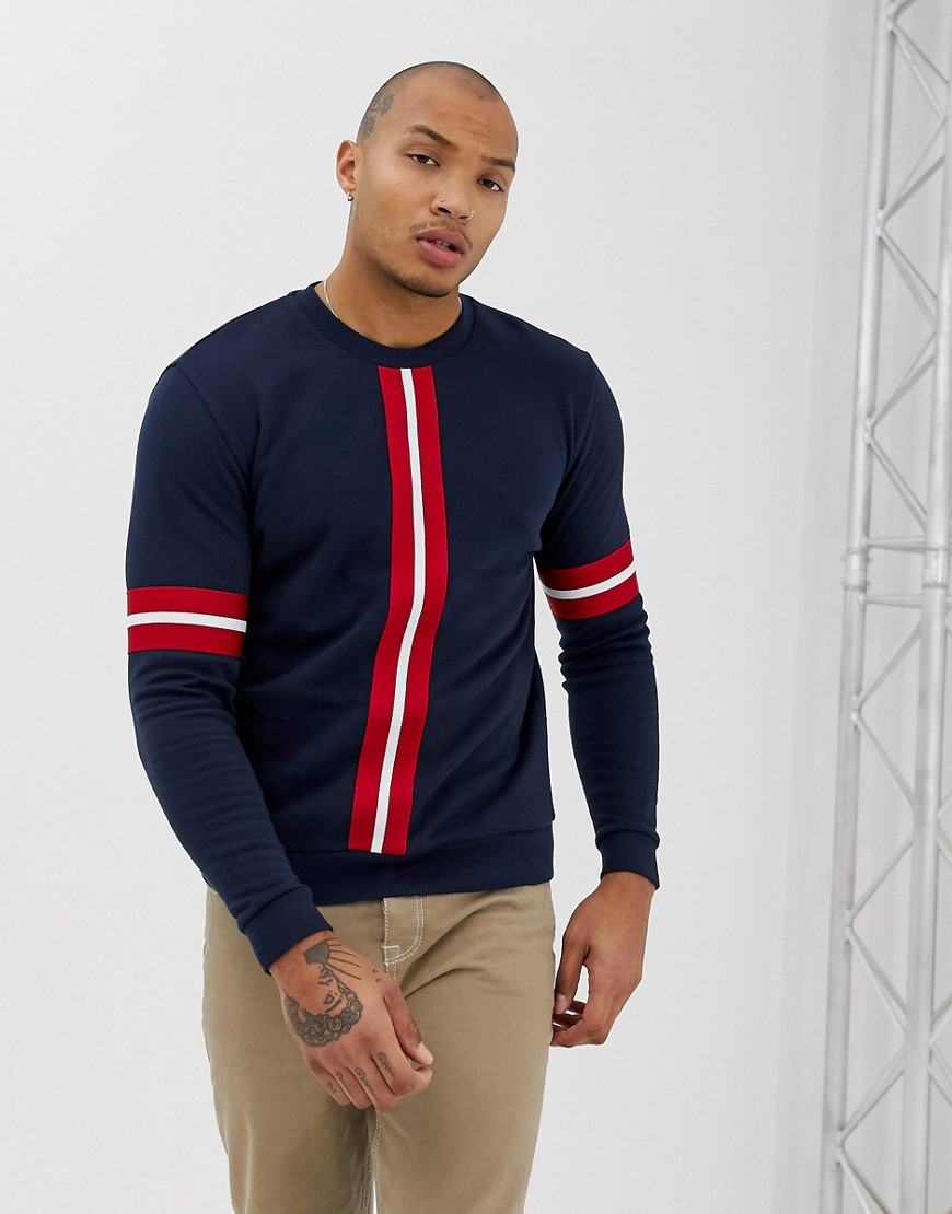 f3a44830c06 ASOS DESIGN sweatshirt with knitted stripe tape in navy - Navy