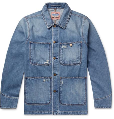 639118cc8a2 Acne Studios – Albyr Distressed Denim Chore Jacket – Men – Blue ...