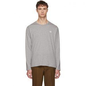 Acne Studios Grey Long Sleeve Nash Face T-Shirt