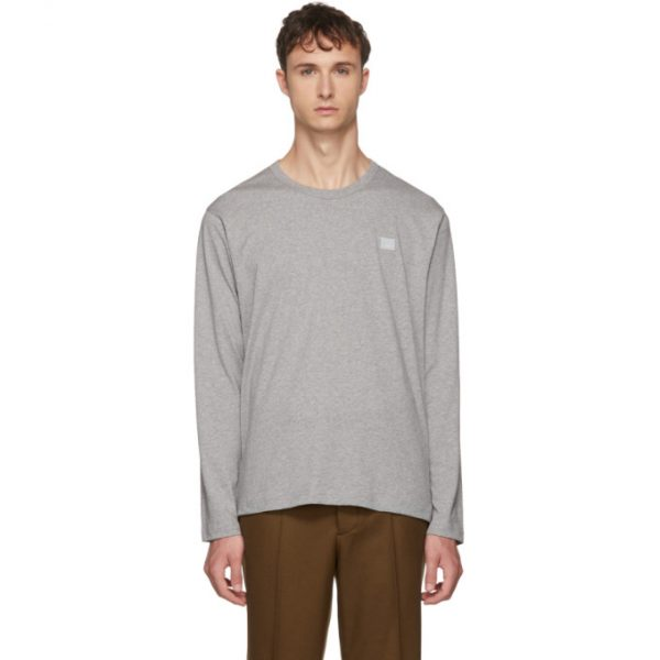 Acne Studios Grey Long Sleeve Nash Face T-Shirt