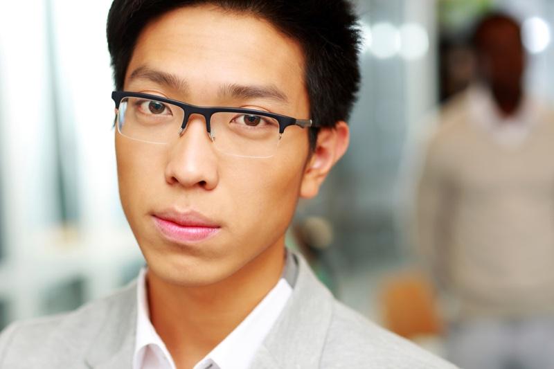 Asian Man Wearing Glasses