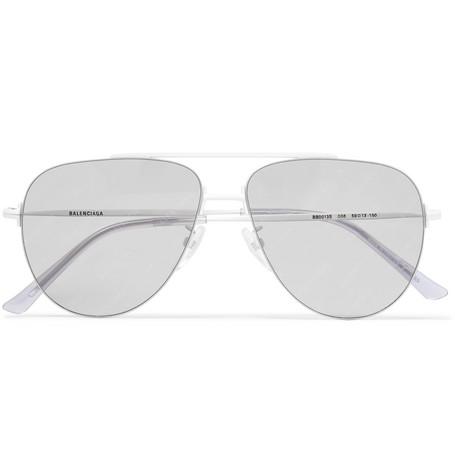 Balenciaga - Aviator-Style Silver-Tone Logo-Print Sunglasses - Men - Silver