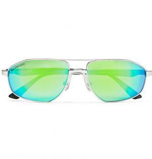Balenciaga - Aviator-Style Silver-Tone and Acetate Mirrored Sunglasses - Men - Silver