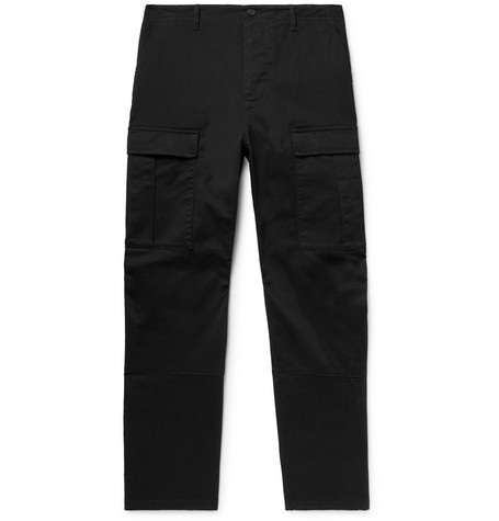 Balenciaga - Black Cropped Slim-Fit Cotton-Twill Cargo Trousers - Men - Black