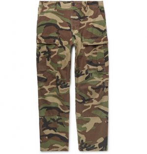 Balenciaga - Cropped Camouflage-Print Cotton-Twill Cargo Trousers - Men - Army green