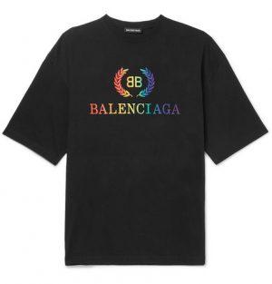 Balenciaga - Logo-Embroidered Cotton-Jersey T-Shirt - Men - Black