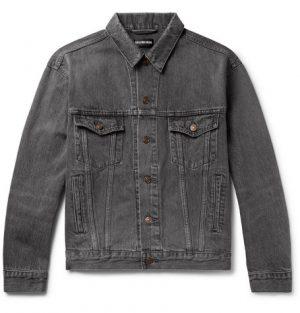 Balenciaga - Logo-Print Denim Jacket - Men - Gray