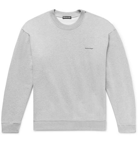 Balenciaga - Logo-Print Mélange Loopback Cotton-Jersey Sweatshirt - Men - Gray