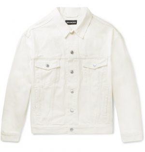 Balenciaga - Oversized Logo-Embroidered Denim Jacket - Men - Cream
