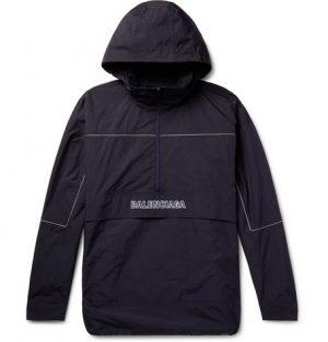 Balenciaga - Oversized Logo-Embroidered Ripstop Half-Zip Hooded Jacket - Men - Midnight blue