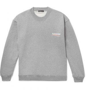 Balenciaga - Oversized Logo-Print Mélange Loopback Cotton-Jersey Sweatshirt - Men - Gray