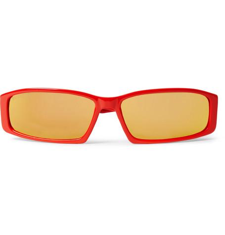 Balenciaga - Rectangle-Frame Acetate Sunglasses - Men - Red