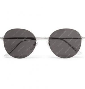 Balenciaga - Round-Frame Silver-Tone Logo-Print Sunglasses - Men - Gray