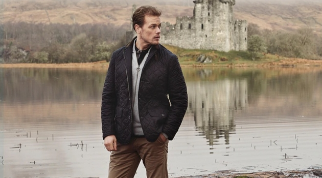 Sam Heughan dons a look from Barbour's spring-summer 2019 Steel Tartan collection.