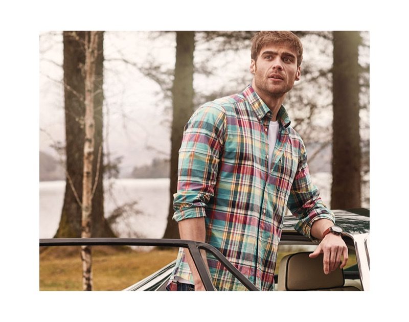 George Alsford sports a plaid shirt from Barbour's spring-summer 2019 collection.