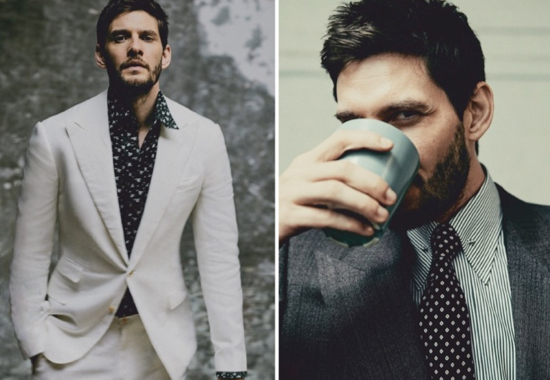 Left: Ben Barnes wears a white linen suit by Ralph Lauren Purple Label with a Marol shirt. Right: Barnes dons a brown Edward Sexton suit jacket and shirt with an Emma Willis tie.