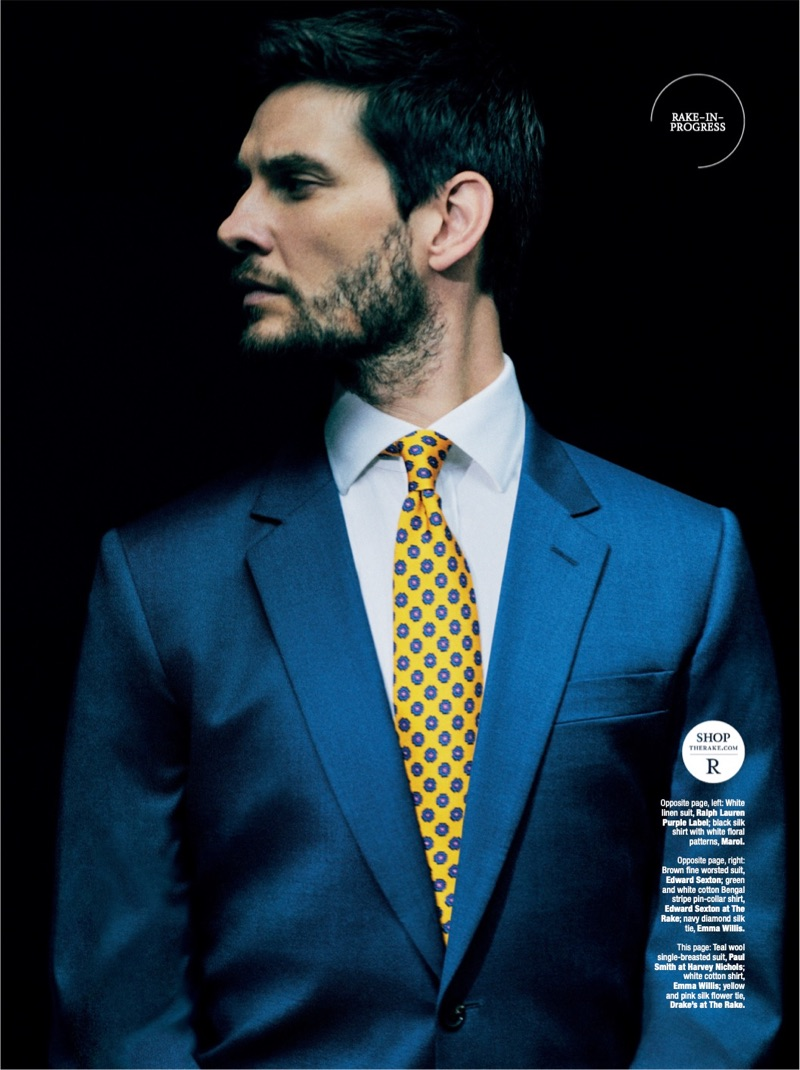 Actor Ben Barnes wears a teal Paul Smith suit jacket with an Emma Willis shirt and Drake's tie.