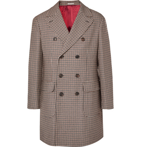 Brunello Cucinelli - Double-Breasted Houndstooth Wool and Cashmere-Blend Coat - Men - Brown