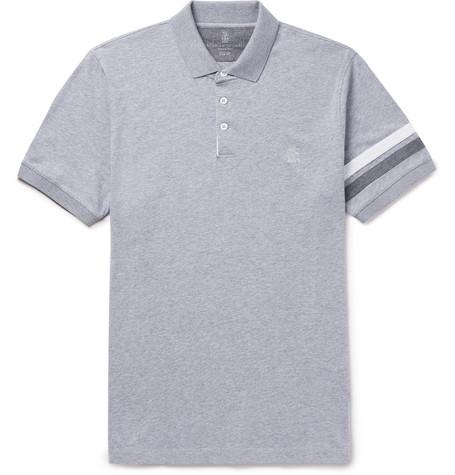 Brunello Cucinelli - Slim-Fit Appliquéd Mélange Cotton-Jersey Polo Shirt - Men - Gray