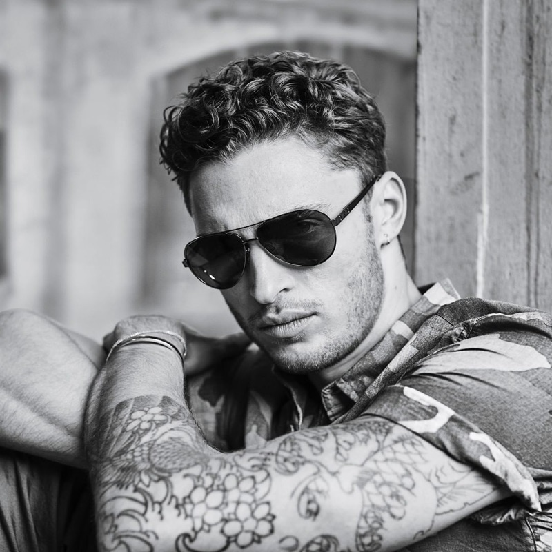 British model Harvey Haydon rocks shades for Buffalo David Bitton's spring-summer 2019 campaign.