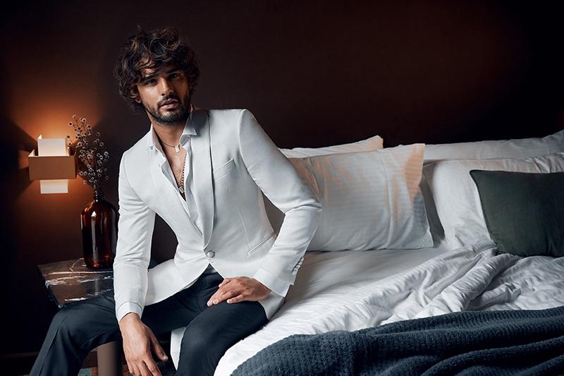Marlon Teixeira dons sleek tailoring for Calibre's fall-winter 2019 campaign.