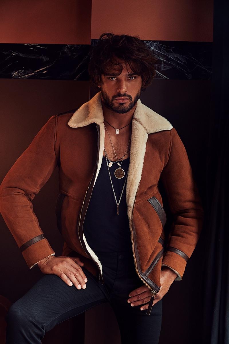 Model Marlon Teixeira sports a shearling jacket for Calibre's fall-winter 2019 campaign.