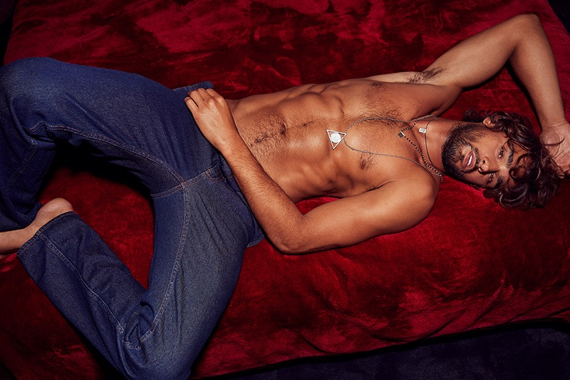Brazilian model Marlon Teixeira goes shirtless in denim jeans for Calibre's fall-winter 2019 campaign.