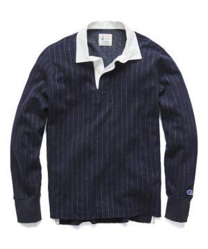 Champion Italian Wool Wide Stripe Rugby in Navy