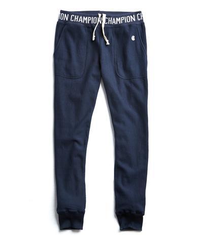 Champion Logo Rib Slim Jogger Sweatpants in Navy