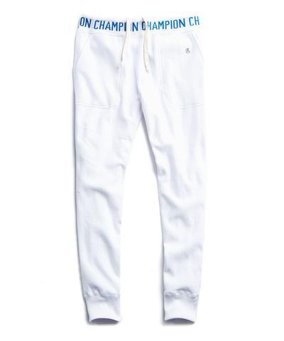 238de6c92 Champion Logo Rib Slim Jogger Sweatpants in White | The Fashionisto