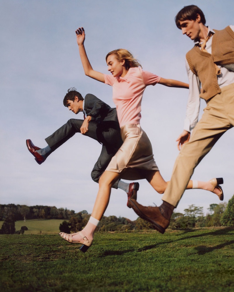 Church's enlists models Vincent LaCrocq, Maartje Verhoef, and Tommaso de Benedictis as the stars of its spring-summer 2019 campaign.