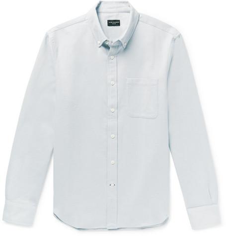 Club Monaco - Slim-Fit Button-Down Collar Double-Faced Cotton Shirt - Men - Sky blue