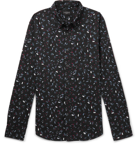Club Monaco - Slim-Fit Printed Cotton-Poplin Shirt - Men - Black