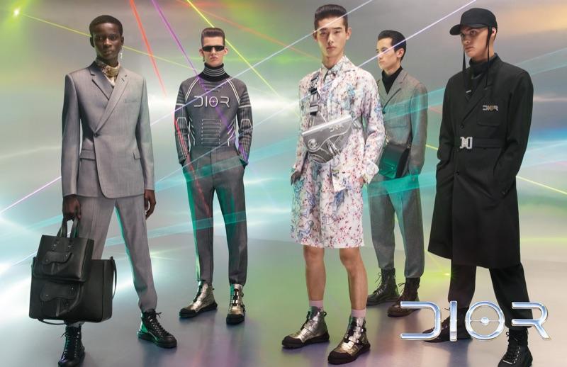 Serigne Lam, Lukas Gomann, Taemin Park, Chris Kojiro, and Ludwig Wilsdorff appear in Dior Men's pre-fall 2019 campaign.