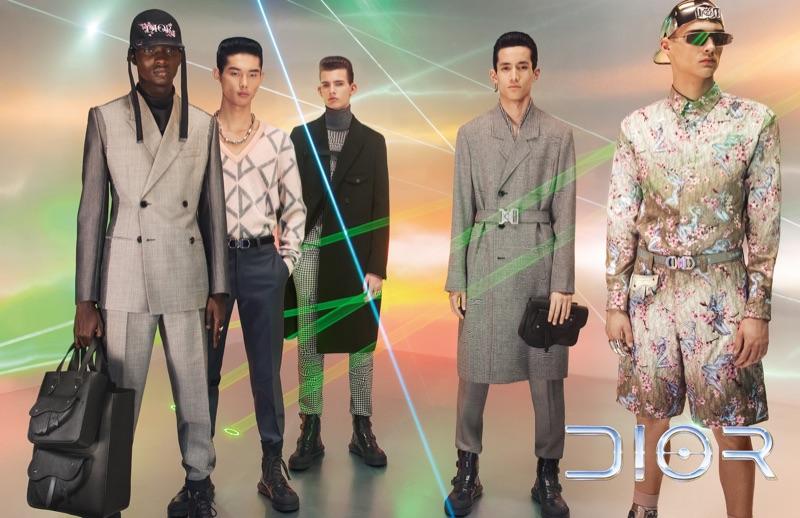 Models Serigne Lam, Taemin Park, Lukas Gomann, Chris Kojiro, and Ludwig Wilsdorff front Dior Men's pre-fall 2019 campaign.