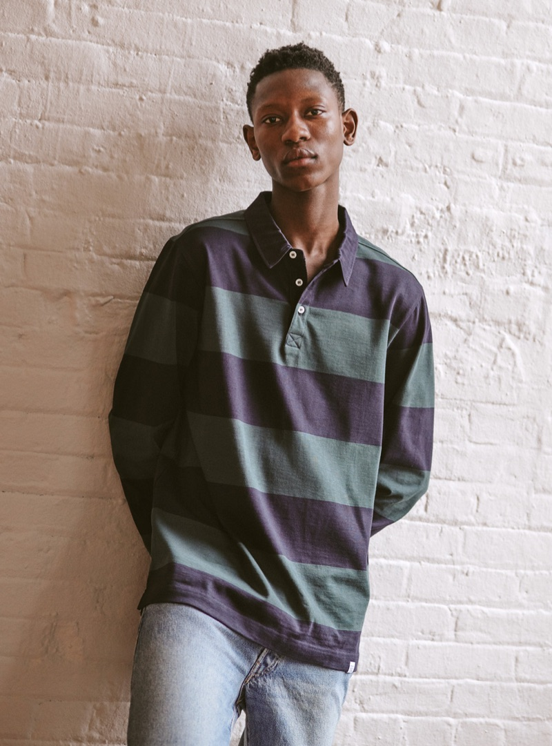 913fbde1aaf Dressed in an ultra-casual look, Lang Jobe models a Norse Projects polo  shirt