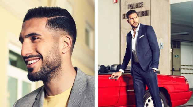 Left: Emre Can wears a H&M premium cotton t-shirt and skinny fit blazer. Right: Can sports a H&M slim-fit easy-iron shirt with a skinny-fit blazer and suit pants in dark blue mélange.