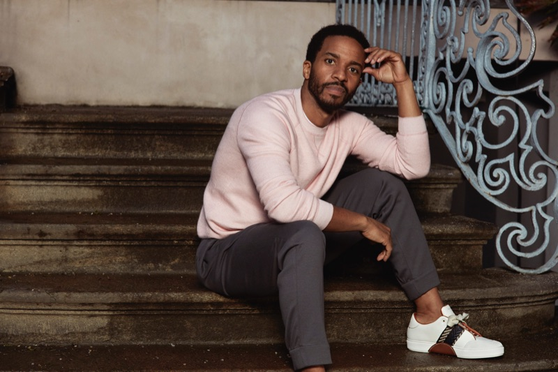 André Holland appears in Ermenegildo Zegna's spring-summer 2019 campaign.