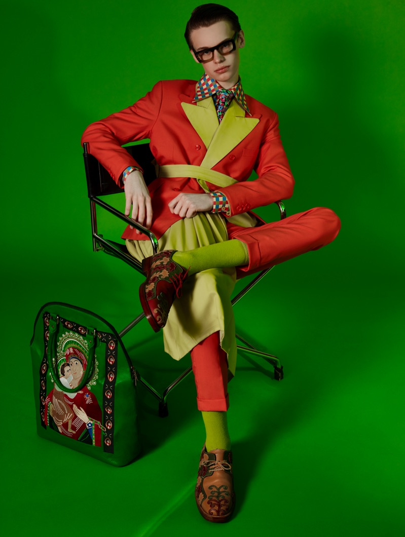 A colorful dandy, James wears Helen Anthony.