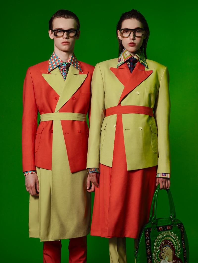 Models James and Zuzanka sport colorblocked looks from Helen Anthony.