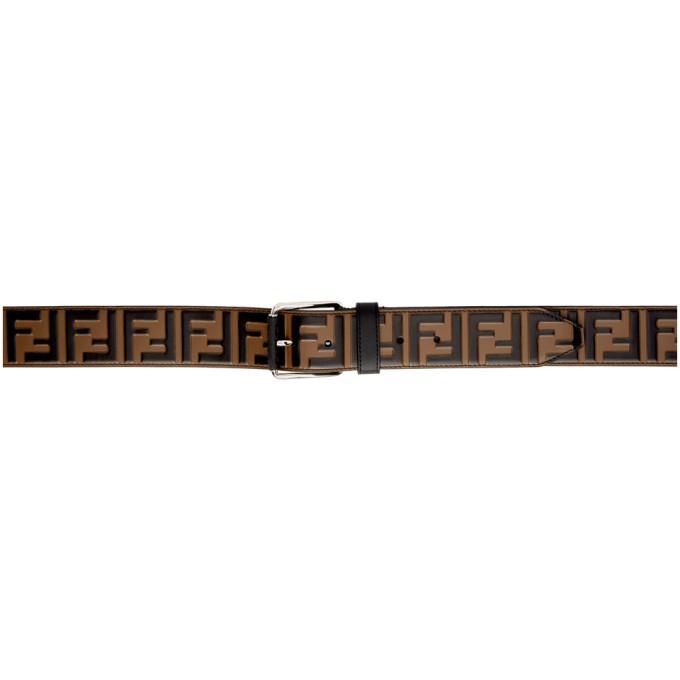 168b6ec343 Fendi Brown and Black Leather Forever Fendi Belt