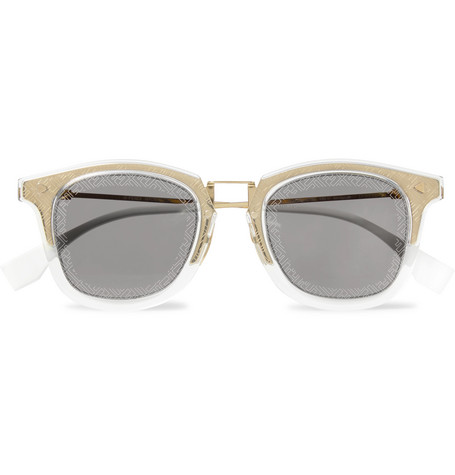 f9d6c1343 Fendi – D-Frame Acetate and Gold-Tone Logo-Print Sunglasses – Men ...