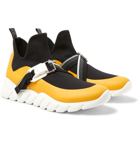 77564c5e8e Fendi - Leather-Trimmed Stretch-Knit Slip-On High-Top Sneakers - Men - Black