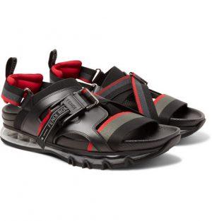 Fendi - Leather-Trimmed Webbing Sandals - Men - Black