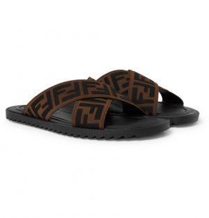 Fendi - Logo-Appliquéd Webbing Sandals - Men - Brown