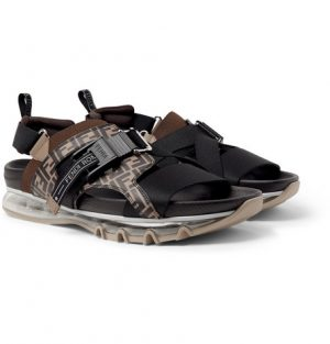 Fendi - Logo-Print Leather and Webbing Sandals - Men - Dark brown