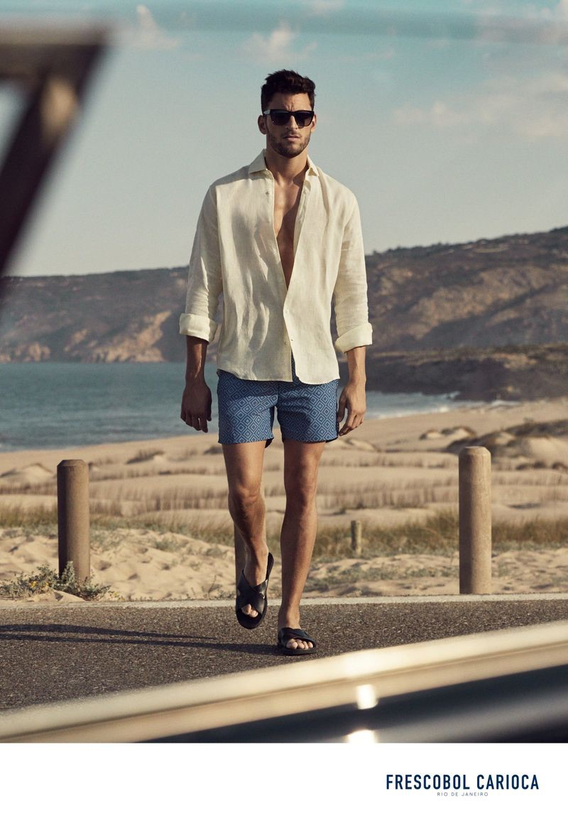 Portuguese model Kevin Sampaio stars in Frescobol Carioca's spring-summer 2019 campaign.