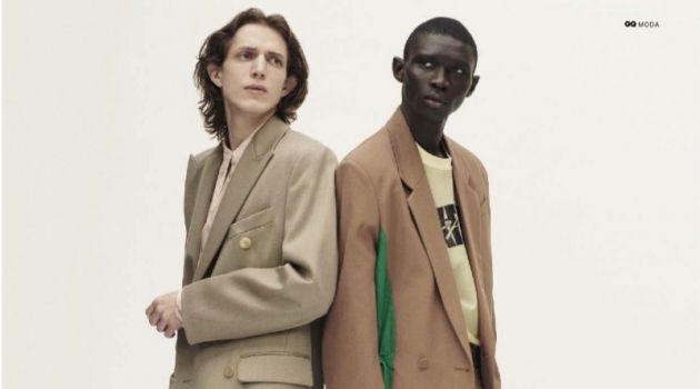 Models Xavier Buestel and Fernando Cabral star in an editorial for GQ Italia.
