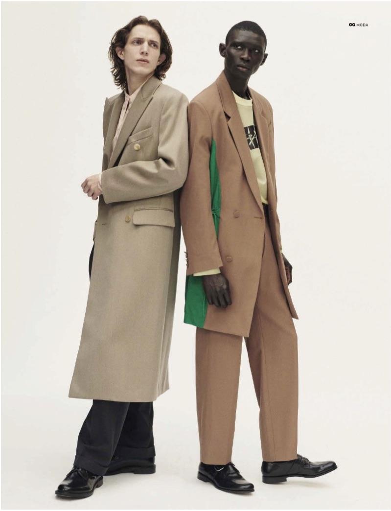 Models Xavier Buestel and Fernando Cabral star in an editorial for GQ Italia.