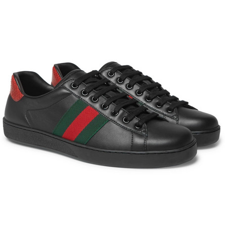 97d8f3d6fbc Gucci – Ace Snake-Trimmed Leather Sneakers – Men – Black